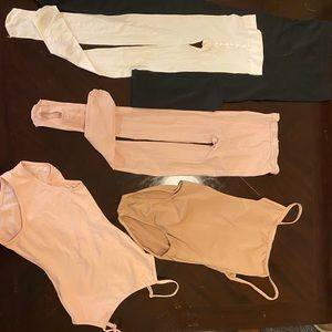 2 Capezio bodysuits and 3 tights